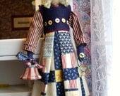 "Handmade Folk Art  Primitive 22""  Doll- Patriotic Lady Liberty"