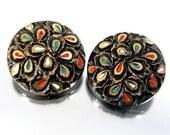 Vintage FRENCH JET ENAMEL Earrings Black Molded Glass Gold Trim Clip On