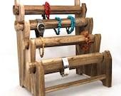 Rustic Oak Four Tier Bracelet And Watch Storage/Display