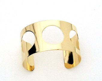 Gold Plated Cuff 1.5 Inch Wide 3 Round Cutouts Ready Crafting Or Wear SALE While Supplies Last