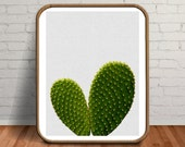 Cactus Painting, Cactus Print Download, Cactus Printable, Cactus Photography, Fiance Gift, Heart Print, Cacti, Heart Plant, Cactus Plant