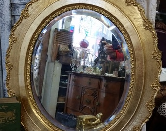 Beautiful Vintage Gold Framed Oval Beveled Edge Mirror from Rustysecrets