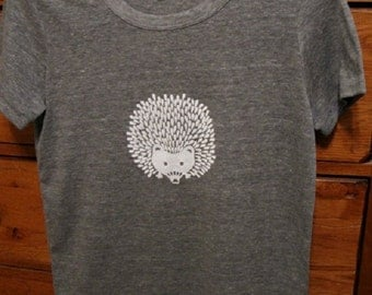 Hedgehog Ladies T Shirt - Gray Eco Heather Cotton Blend