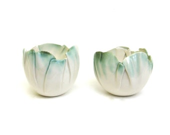 hand built porcelain mini balloon bowls  ...   creamy white and green
