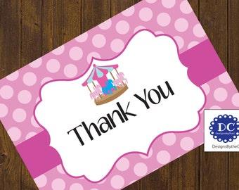 Carousel Thank You Card, Thank You Card, Carousel Birthday, Carnival Birthday, Pink Polka Dots, Polka Dots- Instant Download