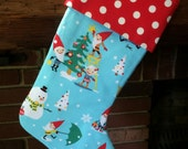 Gnome for the Holidays Stocking, Christmas Stocking, Fully-Lined Gnome Christmas Stocking
