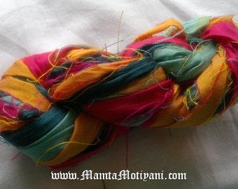 Bright Colored Silk Ribbon Yarn, Recycled Multicolor Sari Ribbon, Sari Silk Yarn, Ribbon Yarn, Recycled Sari Silk Ribbon, Sari Art Yarn