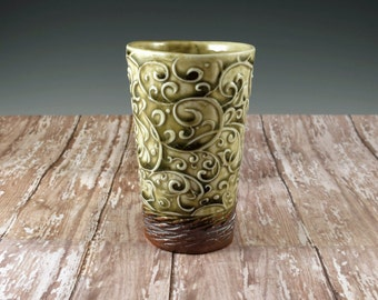 Handmade 10 oz Tumbler Ceramic Pottery with Light Green with Brown Trim by Botanic2Ceramic - 947