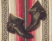 Vintage Upcycled Dan Post cowboy boots black with rosegold size 8