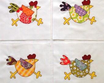 Funky Chicken Appliqued Quilt Blocks