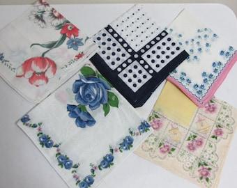 Ladies Handkerchiefs Lot of 5 Hankies