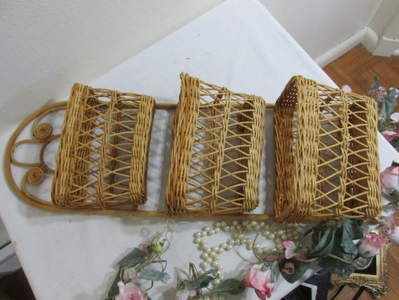 wicker letter holder mail organizer wall hanging. Black Bedroom Furniture Sets. Home Design Ideas