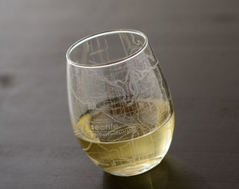 Seattle Maps Stemless Wine Glass