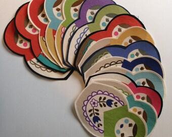 Free Shipping 15 Piece Fabric Iron On Matryoshka Doll Appliqué Set