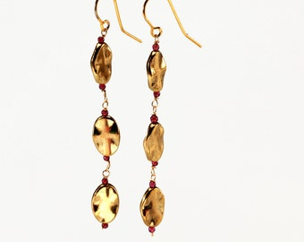 Dangling Hammered Gold Colored Brass Disc Earrings with Garnet Mini Beads