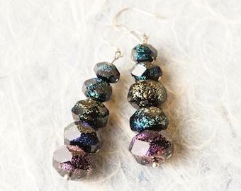 Handmade Dichroic Glass Earrings Sterling Silver .925