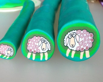 "Sheep cane polymer clay,  raw cane unbaked, 1"" diameter, handmade, ready to use"