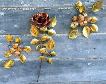 Vintage Set Copper Rose Flowers Stem Leaves Hanging Wall Sculpture Metal Decor