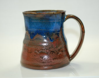 16 oz Mug Ceramic Copper Blue Ceramic Mug Large