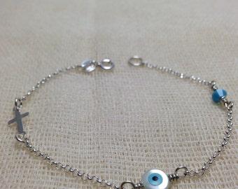 Baby kid evil eye bracelet in 925 sterling silver - protection - baptism
