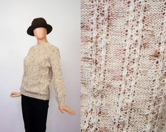 Vintage Cable Knit Sweater / Oatmeal Knit Top / Fisherman / Coffee  + Cream / Cozy / 1970s Alpine / Ski / Cabin / 70s Boho / Small / Medium