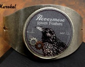 Raven Feathers Industrial Cuff Unisex Adjustable resin Hardware Jewelry Edgar Allen Poe Gears Steampunk Nevermore