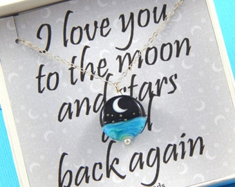 Moon and Stars Gift Boxed Necklace, Lamp work Necklace,  I love you to the moon and Back, Best friends necklace