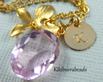 Pink Quartz Necklace, Orchid Necklace, Personalized Initial Necklace, Gold Filled