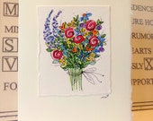 "Fabulous Flower Bouquet Watercolor Original ""Big Card"" 5x7 With Matching Envelope  betrueoriginals"