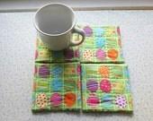 green multi color easter eggs  set of mug rugs