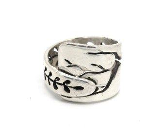 Ring Sterling Silver Plant Wrap Cutout