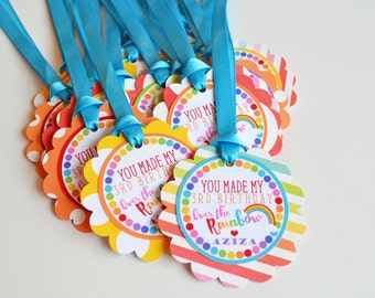 Rainbow Birthday Party Favor Tags Decorations Fully Assembled