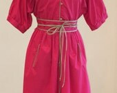 1980s Casual Day Dress - Hot Pink Khaki Trim - Batwing Sleeve Shirtwaist Dress - Classic Traditional - Plus Size Vintage - Bust 40 - 44