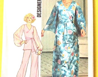Uncut Simplicity 7259  1970s Misses' Top, Skirt Pants  Palazzo pants Bell Bottom balloon Butterfly Sleeves Vintage Sewing Pattern Bust 36