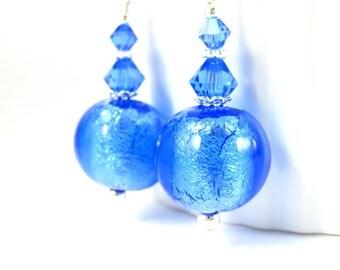 Blue Murano Dangle Earrings, Glass Earrings, Sapphire Blue Earrings, Ice Blue Earrings, Venetian Earrings, Murano Jewelry, Gift Under 20