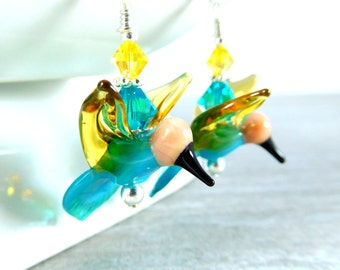 Colorful Bird Earrings, Hummingbird Earrings, Teal Yellow Peach Glass Earrings, Nature Jewelry, Lampwork Earrings, Animal Earrings, Woodland