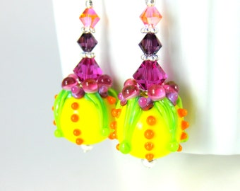 Colorful Funky Earrings, Yellow Pink Purple Orange Earrings, Fun Earrings, Lampwork Earrings, Bright Color Earrings, Glass Dangle Earrings