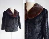 1960s Black Cropped Jacket with Fur Collar - M