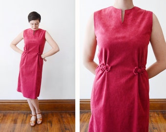 70s Fuchsia Ultra Suede Shift Dress - M