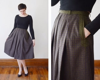 1980s/1990s Green and Purple Austrian Plaid Wool Skirt - S