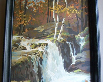 Vintage Framed Paint by Number Painting ~ Waterfall in the Woods ~ Nature ~ #1