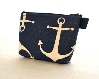 Nautical Anchor Navy White Fabric Gadget Pouch Cosmetic Bag Zipper Pouch Makeup Bag Cotton Zip Pouch Premier Prints Bridesmaid Gift MTO