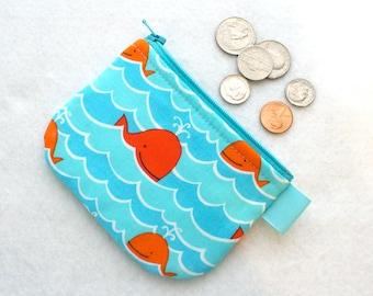 Boys Mini Coin Purse Cute Happy Whales Mini Change Purse Little Zipper Coin Pouch David Walker Free Spirit Orange Turquoise Blue MTO