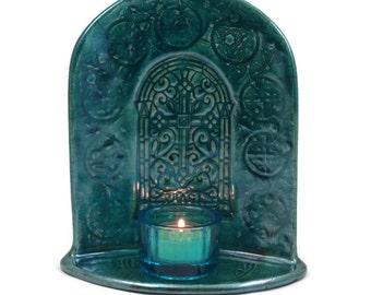 Cross of Peace  Candle Holder Shrine Handmade Raku Pottery