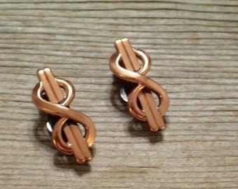 Renoir Earrings, Vintage RENOIR Copper Figure 8 Infinity Loop Clip Earrings, Vintage Copper Earrings, Mid Century Modernist Copper