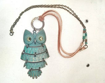 Owl Pendant Necklace Bohemian Crystal Rhinestone Suede Lace Cord Glass Beaded - Retro Owl No. 1