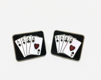 Vintage Poker Cuff Links - Playing Cards - Four of a Kind Aces - Black, Gold, Enamel - 1950s
