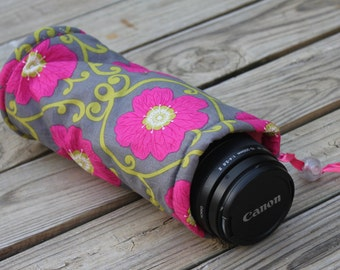 Camera  Zoom Lens Case for DSL Camera Grey and Fuchia Floral Print Custom Monogramming Included