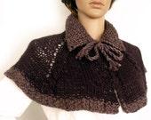 Outlander inspired cape, Knit cape, Cape poncho, Boho cape poncho, Victorian Lolita cape, Knit stole, Collar cape, Bolero cape, Etsy Gifts