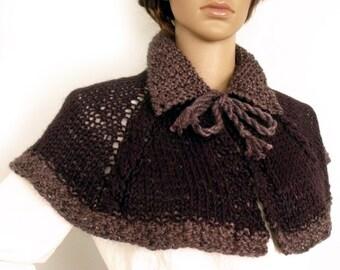 SALE Outlander inspired cape, Knit cape, Cape poncho, Boho poncho, Victorian cape, Lolita cape, Knit stole, Collar cape, Etsy Gifts